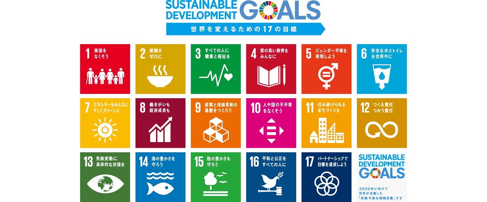 Sustainable Development Goals 世界を変えるための17の目標:2030年に向けて世界が合意した「持続可能な開発目標」です。
